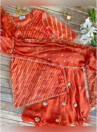 Shop Eye-catching Orange Color Georgette Base With Gotta Work Designer Salwar With Sharara