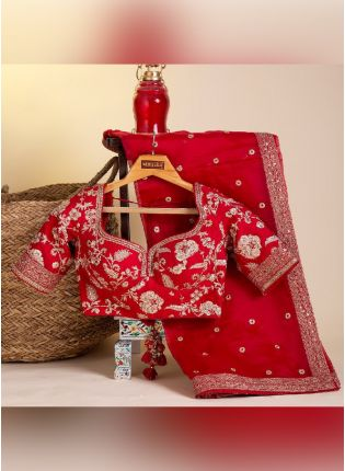Eye-catching Red Color Organza Base With Heavy Work Party Wear Designer Saree