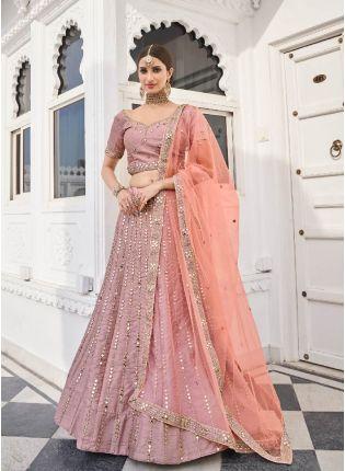 Eye-captivating Rose Pink Color Silk Base Lehenga Choli