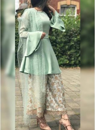 Trendy Green Satin Moti Zari Palazzo Salwar Suit
