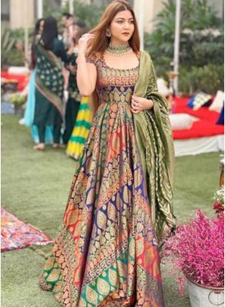 Dashing Multi Color Party Wear Designer Gown