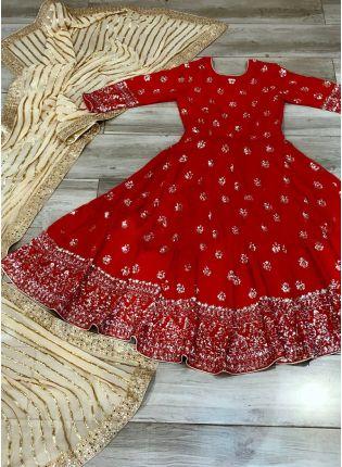 display of Red Georgette Anarkali Suit
