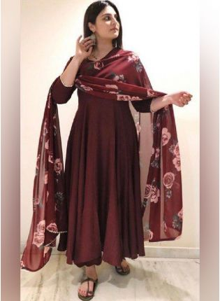 Presenting New Style Marron Color Georgette Base Designer Gown With Printed Dupatta