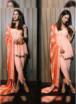 Trendy Stylish Peach Color Party Wear Creap Silk Base Designer Dhoti Style Suit