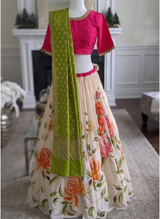 Amazing Off White Lehenga With Pink Colored Blouse