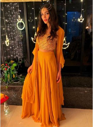 Adorable Yellow Color Palazzo Suit With Foil Mirror Work