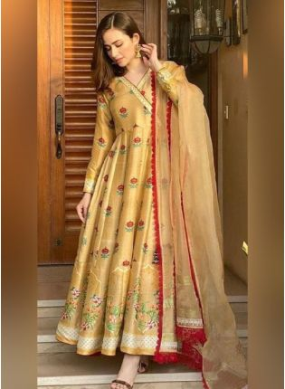 Stunning Yellow Color With Silk Base Gown