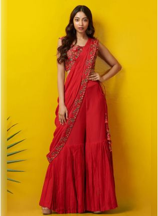 Splendid Red color With georgette dupatta and Sharara Suit