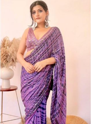 Charming Look Purple Color Art Silk Base Sequins Work Partywear Saree