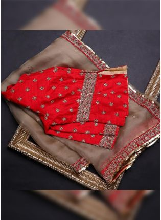 Beige Color Organza Base Wedding Wear Saree With Beautiful Blouse