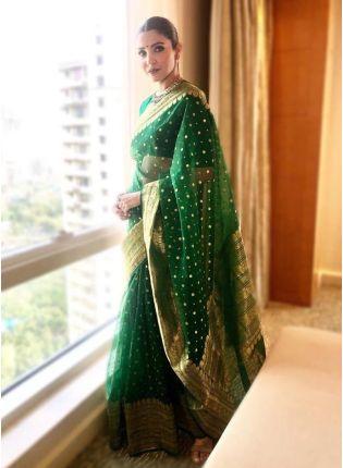girl in Green Jacquard Silk Bollywood Saree
