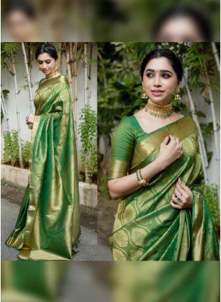 Shop Sparkling Green Silk Base Designer Saree With Silk Weaving