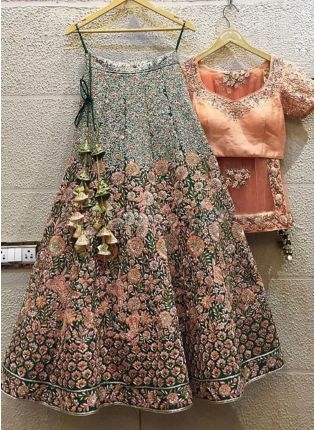 Fabulous Green Sequins And Dori Work Lehenga Choli