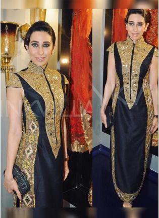 Top Black Color Party Wear Designer Raw Silk Base Salwar Kameez