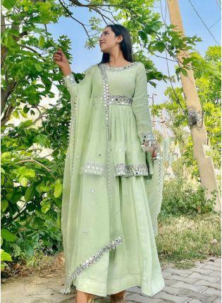 Elegant Pastel Green Color Georgette Base Palazzo Salwar Suit
