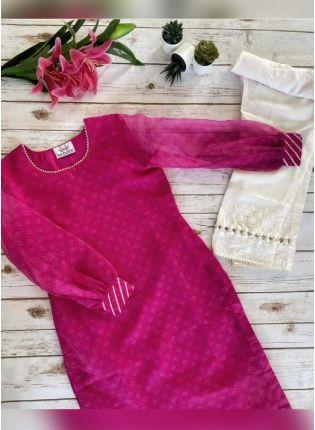 Beautiful Pink Color Organza Base Printed Pant Style Salwar Suit