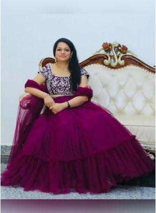Ravishing Pink Color Soft Net Base Designer Look Lehenga Choli