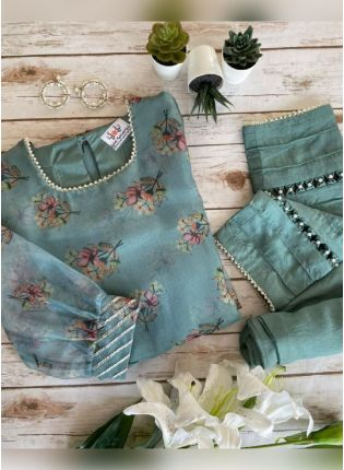 Chic Sea Green Color Organza Base Floral Print Pant Style Salwar Suit