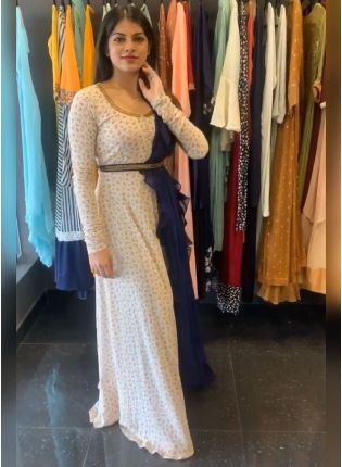 Eye-Captivating  White Color Printed Gown With Designer Blue Color Ruffle Dupatta