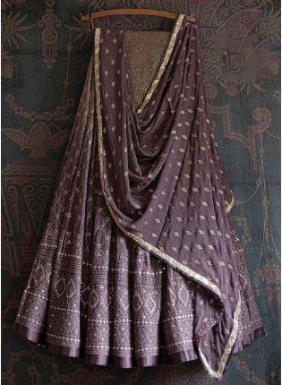 Attractive Purple Color Cotton Silk Base Heavy Zari Work Embroidered Lehenga Choli