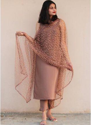 Trendy Light Brown Color Cotton Silk Base Casual Wear Pant Style Salwar Suit