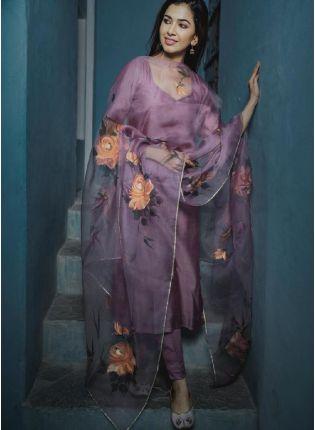 Gorgeous Lavender Color Cotton Silk Base Pant Style Suit