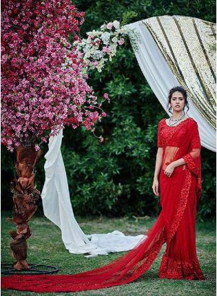 Mesmeric Red Color Net Base With Sequins Work Designer Look Saree With Same Color Blouse