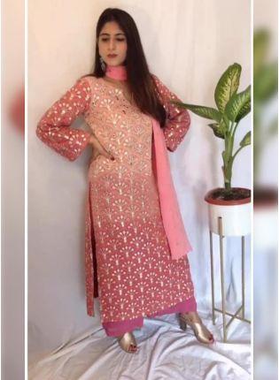 Splendid Adorable Peach Pink Georgette Zari And Resham Work Palazzo Suit