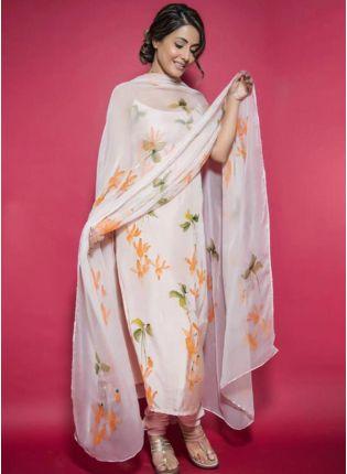 Shop Tempting Dove White Taffeta Silk Designer Salwar Suit