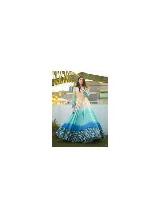 Decent Blue Color Designer Gown With Foil Mirror Work