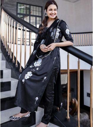 Decent Look Black Color Digital Print Designer Look Pant Style Salwar Suit