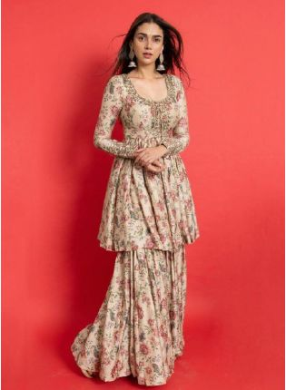 Trendy Peach Color Crepe Base Printed Sharara Suit