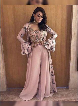 Best Pastel Pink Resham Crepe Party Wear Palazzo Salwar Suit
