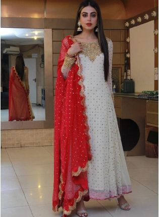 White Color Georgette Base With Thread And Foil Work Designer Gown With Dupatta