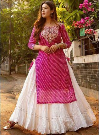 Iconic Charming Pink And White Festive Wear Rayon Base Trendy Lehenga Suit