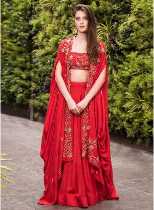 Girl in red lehanga choli