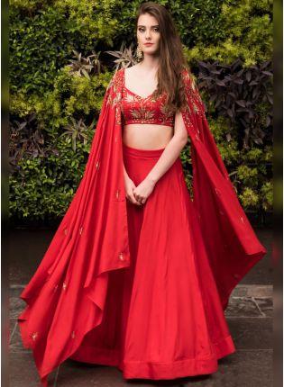 Bride in a red lehenga choli