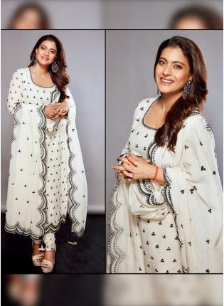 Shop Modish Swan White Cotton Base Resham Work Salwar Suit
