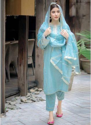 Shop Mesmerizing Sky Blue Cotton Base Pant Style Suit