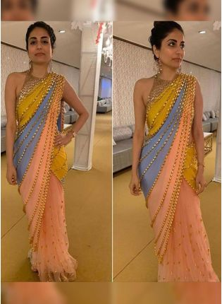 Top Breathtaking Multi-Color Sequin Work Designer Saree With Lace