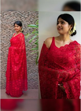 Stylish Admirable Strawberry Red Soft Net Base Sequin Resham Work Saree