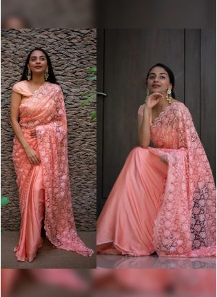 Affordable Sensational Peach Pink Soft Net Base Sequin Resham Work Designer Saree
