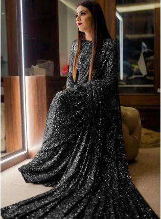 girl in Black Sequins Sparkling Georgette Embroidered Saree