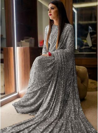 girl in  Grey Sequins Sparkling Georgette Embroidered Saree