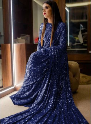 girl in Navy Blue Sequin Georgette Embroidered Saree