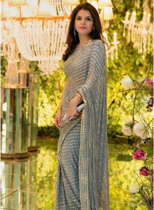 girl in Grey Sequin Zari Georgette Banglori Silk Embroidered Saree