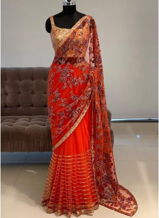 display of Red Sequins Resham Soft Net Embroidered Saree