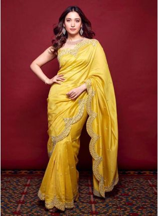 girl in Yellow Zari Pure Silk Golden Embroidered Saree