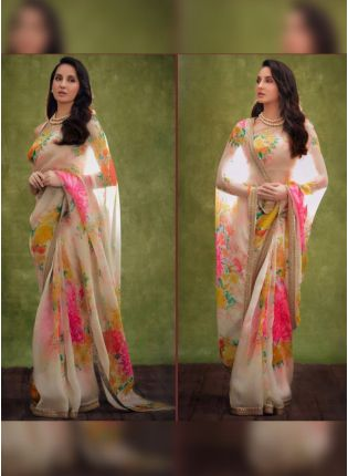 girl in White Digital Print Printed Party Wear Saree