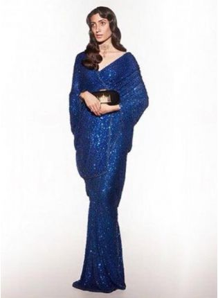 Admirable Royal Blue Georgette Base Party Wear Saree